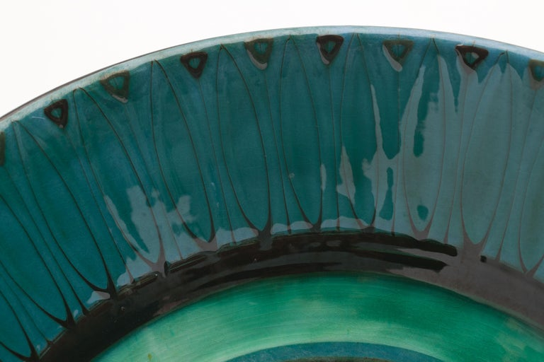 Mid-20th Century Large Unique Glazed Stoneware Bowl by Herman H.C. Kähler, Denmark For Sale