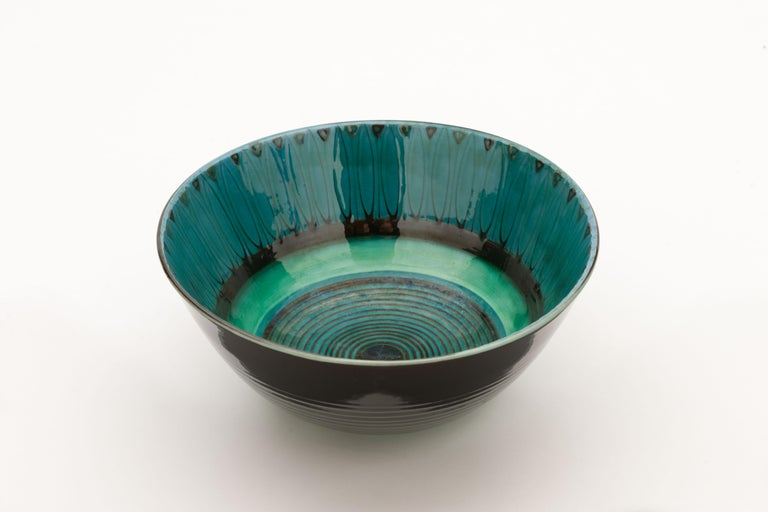Large Unique Glazed Stoneware Bowl by Herman H.C. Kähler, Denmark For Sale 1