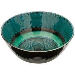 Large Unique Glazed Stoneware Bowl by Herman H.C. Kähler, Denmark
