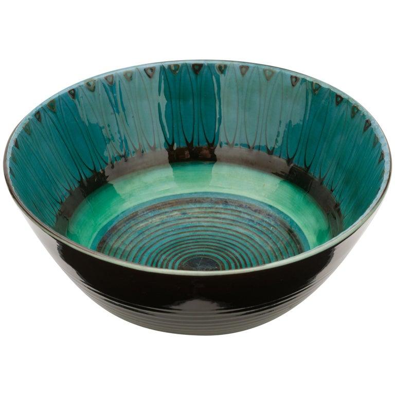 Large Unique Glazed Stoneware Bowl by Herman H.C. Kähler, Denmark For Sale