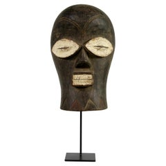 Large & Unique Old African Mask, Chokwe, Congo, Solid Wood, Hand Carved, Antique