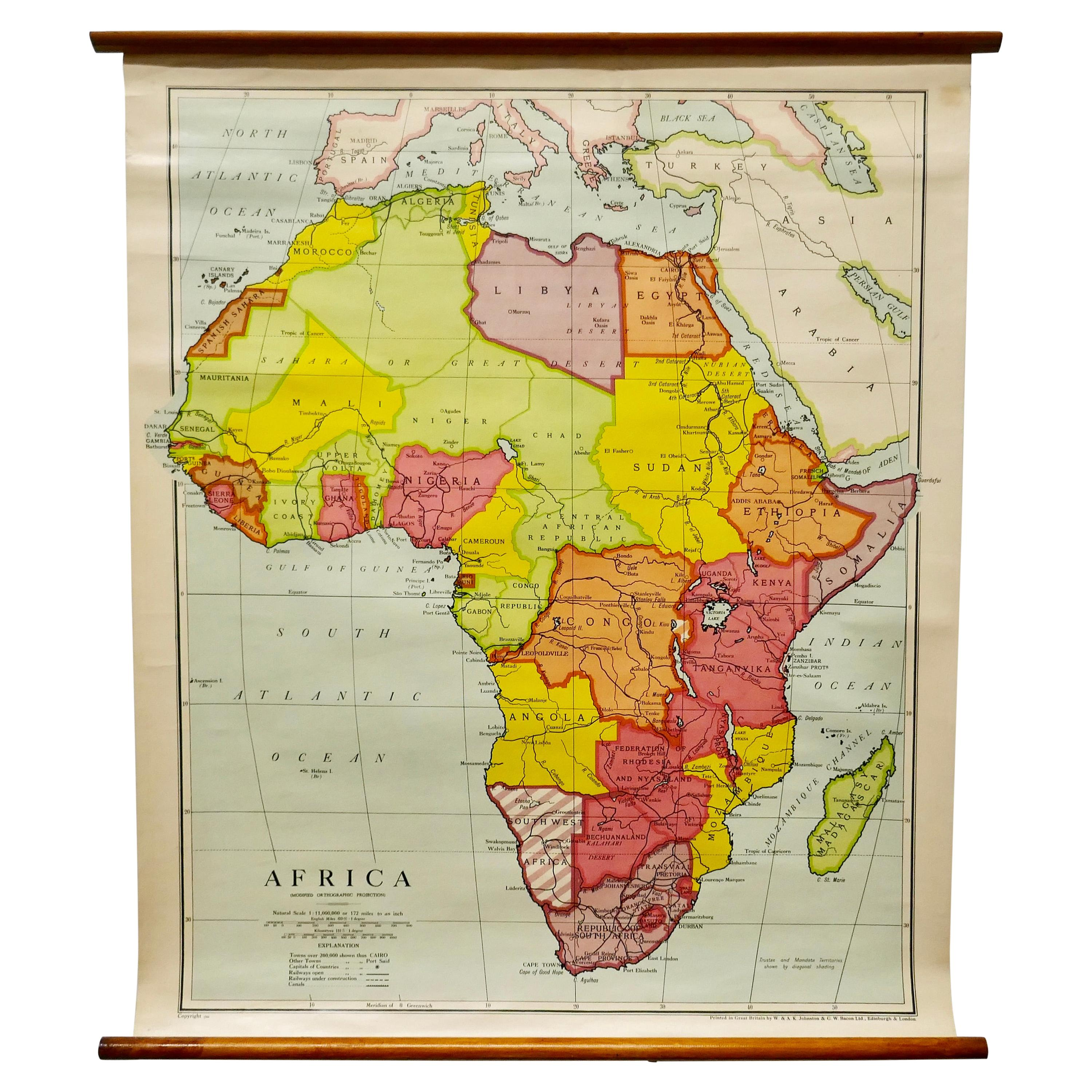 """Large University Chart """"Africa Physical """" by Bacon"""