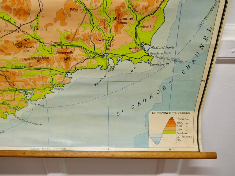 """International Style Large University Chart """"Physical Map of Ireland"""" by Bacon For Sale"""