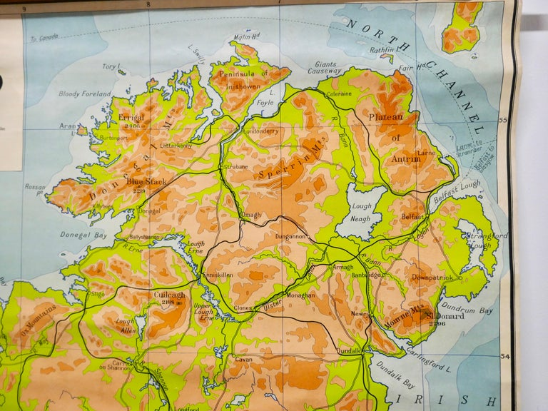 """Large University Chart """"Physical Map of Ireland"""" by Bacon In Good Condition For Sale In Chillerton, Isle of Wight"""