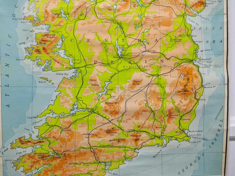 """20th Century Large University Chart """"Physical Map of Ireland"""" by Bacon For Sale"""
