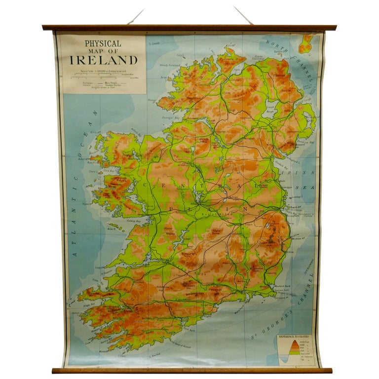 """Large University Chart """"Physical Map of Ireland"""" by Bacon For Sale"""