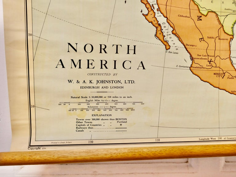 """Large University Chart """"Political Map of North America"""" by Bacon  W&A K Johnston's Charts of Physical Maps By G W Bacon,  This is colourful Physical map of North America, it is large lithograph set on Linen mounted on wooden rods, the chart is in"""