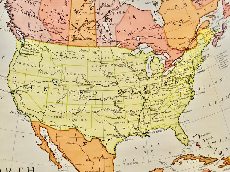 """American Empire Large University Chart """"Political Map of North America"""" by Bacon For Sale"""
