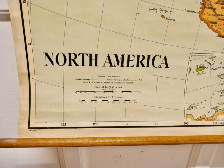 """Large University chart """"Political Map of North America"""" by Bacon  W&A K Johnston's Charts of Political Maps by G W Bacon,  This is colorful Physical map of North America, it is large lithograph set on Linen mounted on wooden rods, the chart is"""