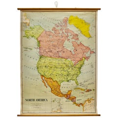 "Large University Chart ""Political Map of North America"" by Bacon"