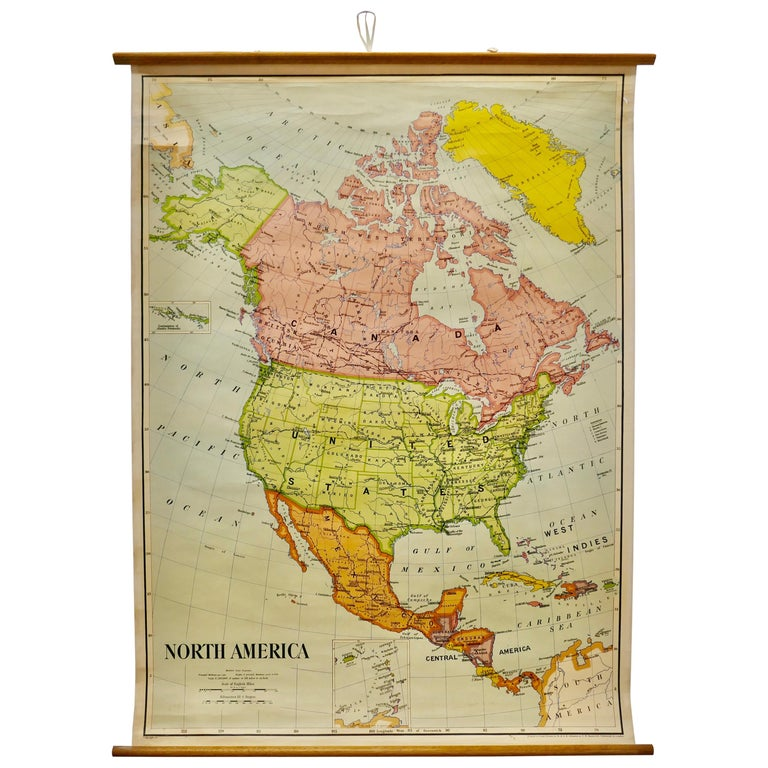 """Large University Chart """"Political Map of North America"""" by Bacon For Sale"""