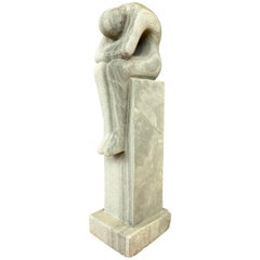 Large Unpolished Granite Pensive Figural Sculpture On Pedestal, 1980s
