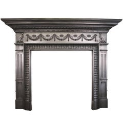 Large Unusual Antique Late Victorian Cast Iron Fire Surround