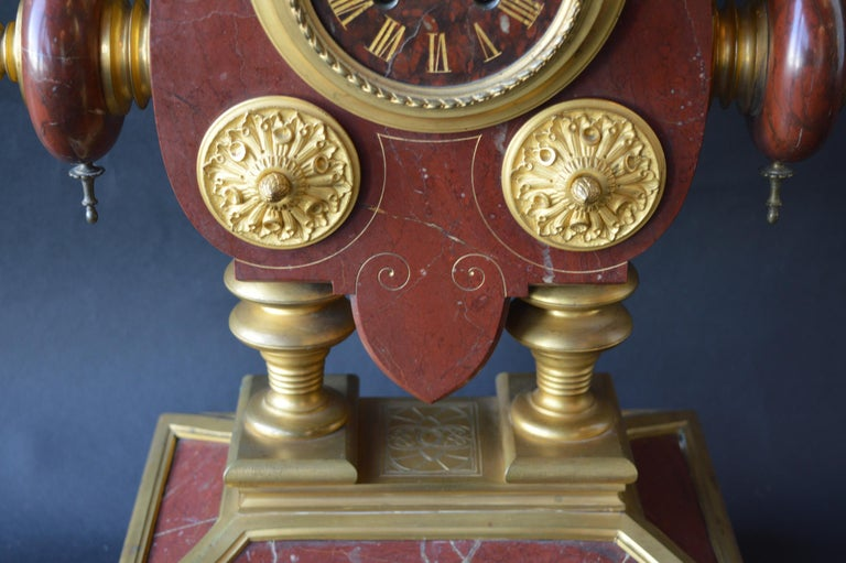 Large Unusual French Neo-Grec Revival Gilt Bronze Mounted Marble Mantle Clock In Good Condition For Sale In Los Angeles, CA