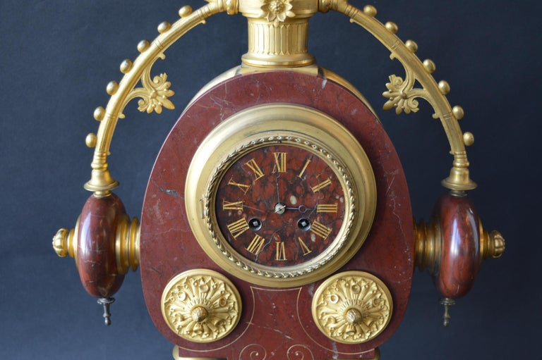 19th Century Large Unusual French Neo-Grec Revival Gilt Bronze Mounted Marble Mantle Clock For Sale