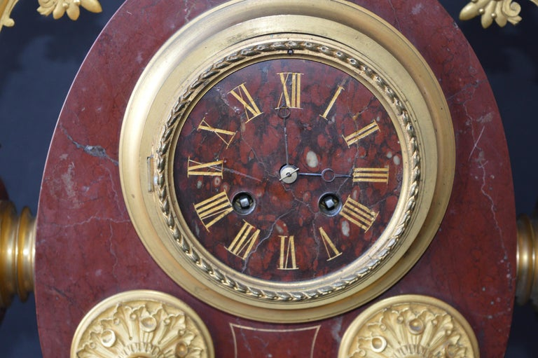 Large Unusual French Neo-Grec Revival Gilt Bronze Mounted Marble Mantle Clock For Sale 1