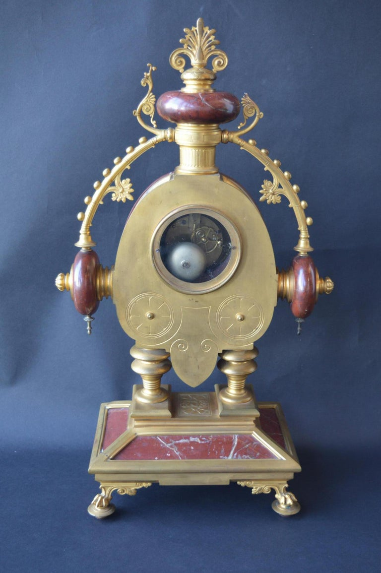 Large Unusual French Neo-Grec Revival Gilt Bronze Mounted Marble Mantle Clock For Sale 3