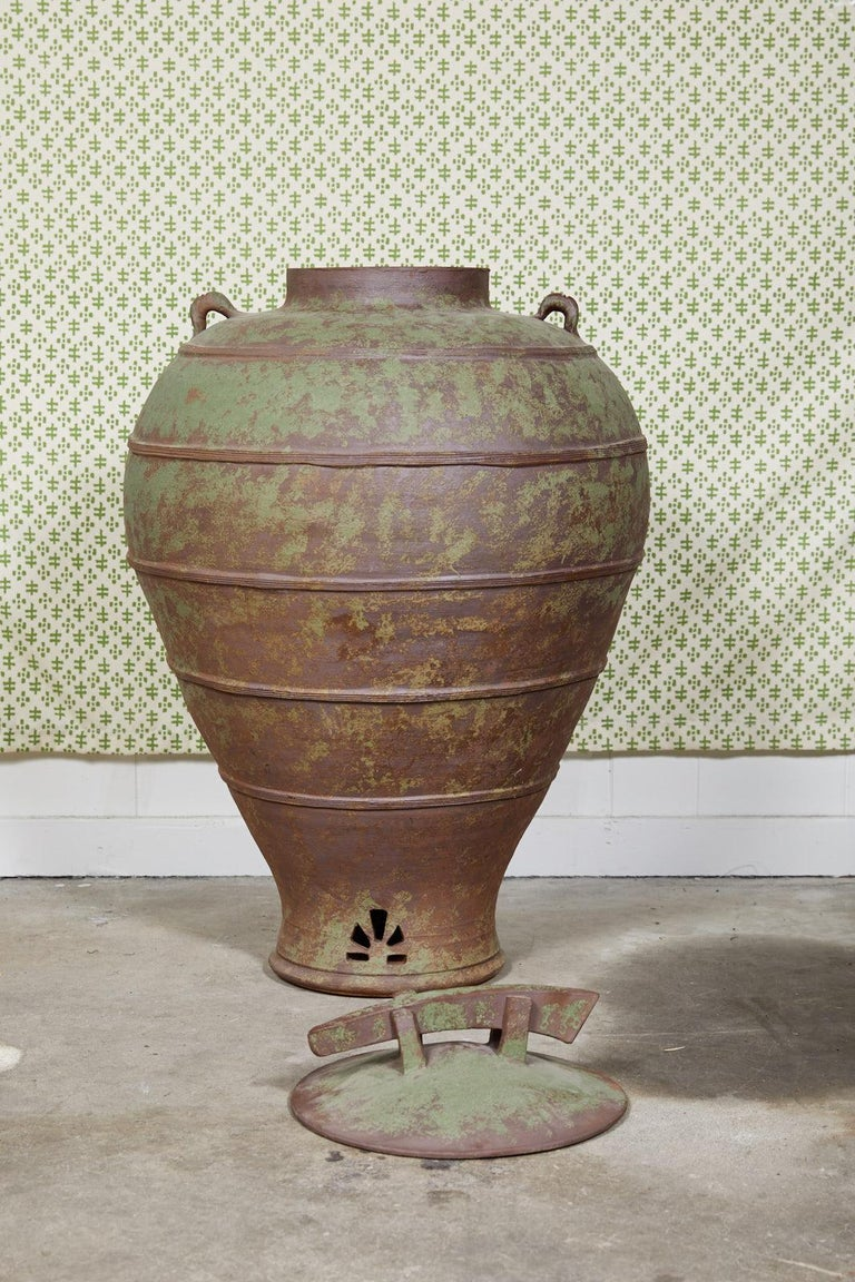 Large Urn Shaped Clay Jar with Lid, Stamped For Sale 6