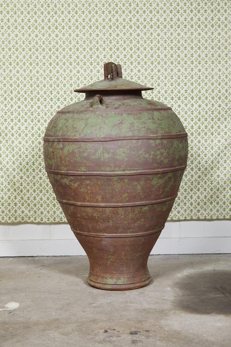 Large Urn Shaped Clay Jar with Lid, Stamped In Good Condition For Sale In Atlanta, GA