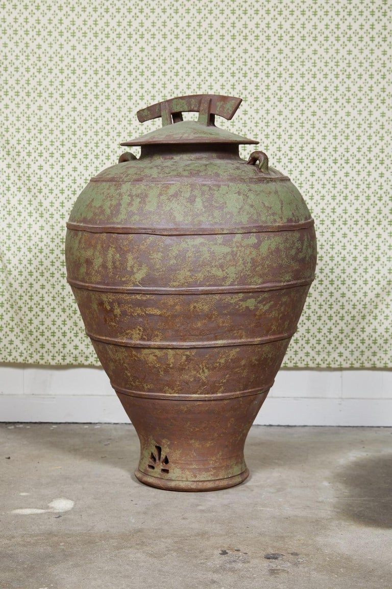 20th Century Large Urn Shaped Clay Jar with Lid, Stamped For Sale