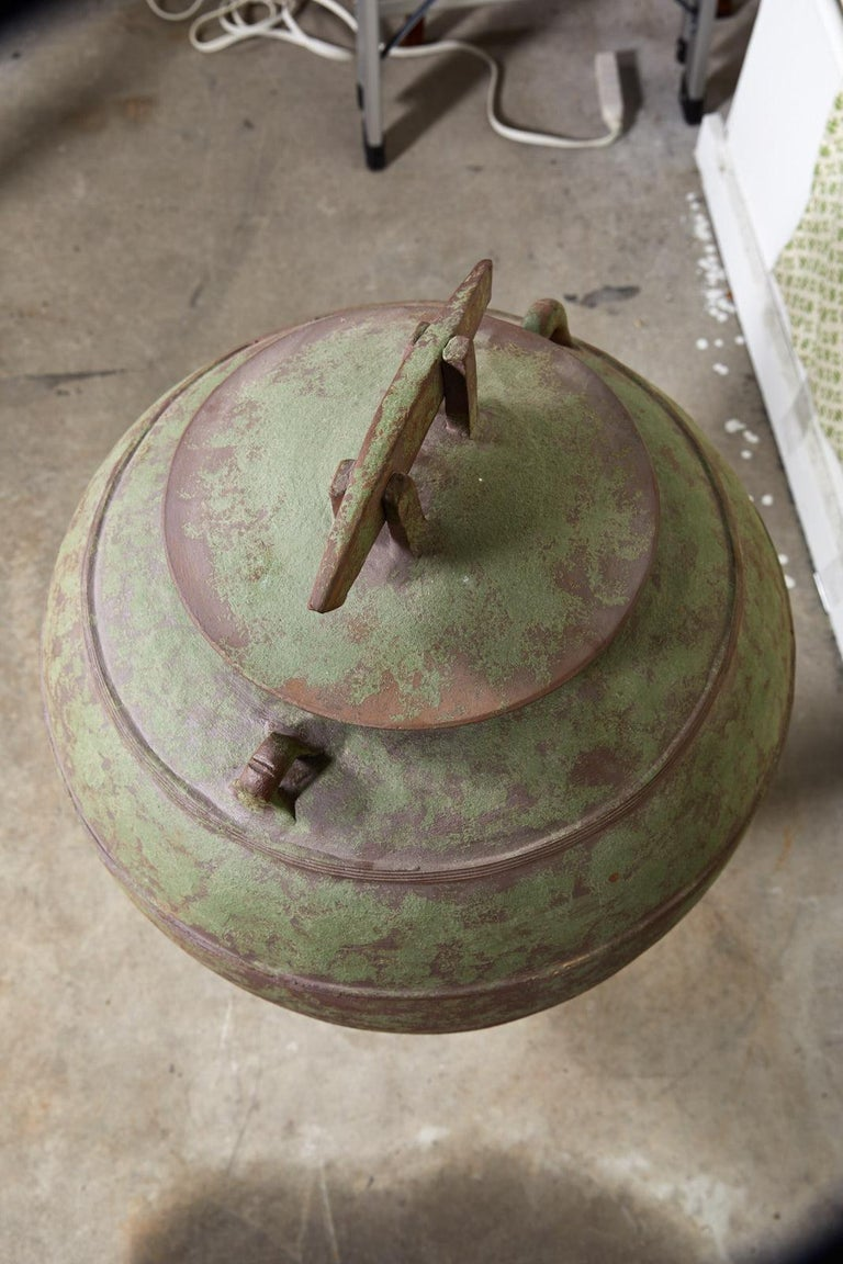 Large Urn Shaped Clay Jar with Lid, Stamped For Sale 1