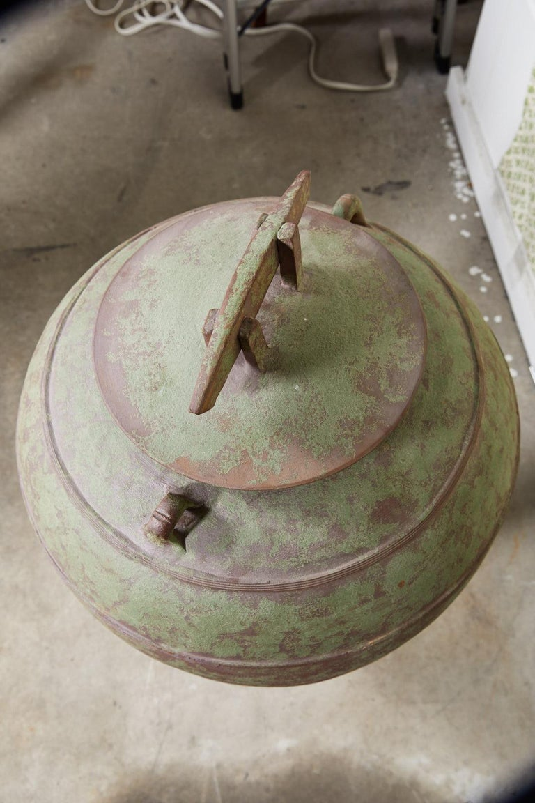 Large Urn Shaped Clay Jar with Lid, Stamped For Sale 2