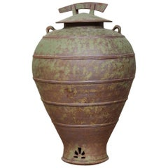 Large Urn Shaped Clay Jar with Lid, Stamped