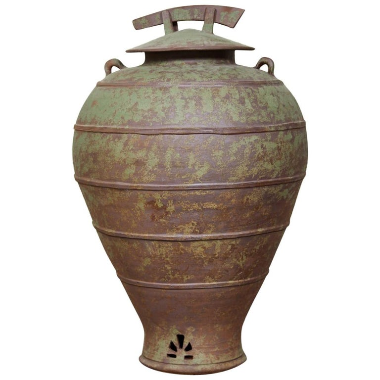 Large Urn Shaped Clay Jar with Lid, Stamped For Sale