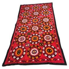 Large Uzbek Suzani Embroidery Wall Hanging