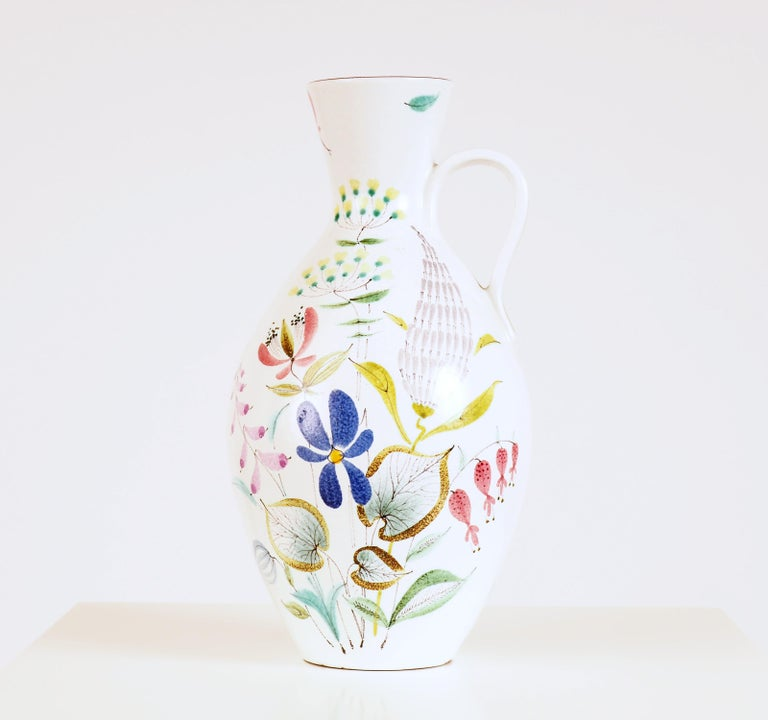 Large vase in hand painted faience by Stig Lindberg for Gustavsberg Studio. Lindbergs began painting faiences in the early 1940s together with Wilhelm Kåge.