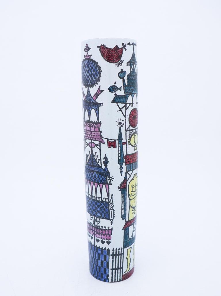 Scandinavian Modern Large Vase Faience, Stig Lindberg, Gustavsbergs Studio, Karneval Serie For Sale