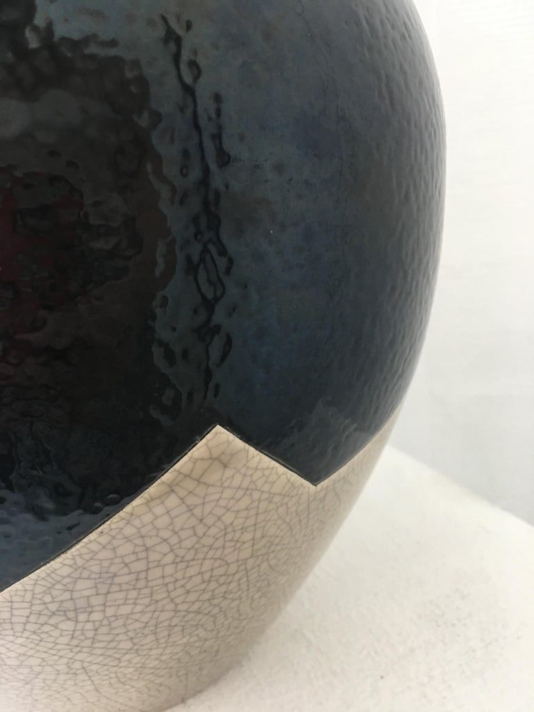 20th Century Large Vase French Ceramist J. Suzor geometric pattern, Craqueling GlazeLongwy  For Sale
