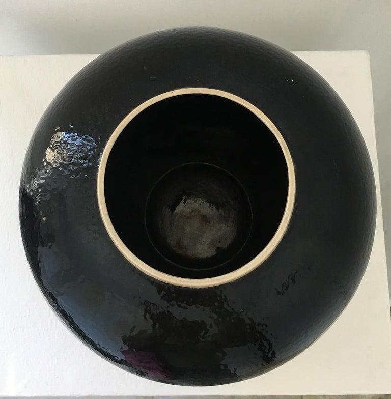 Ceramic Large Vase French Ceramist J. Suzor geometric pattern, Craqueling GlazeLongwy  For Sale