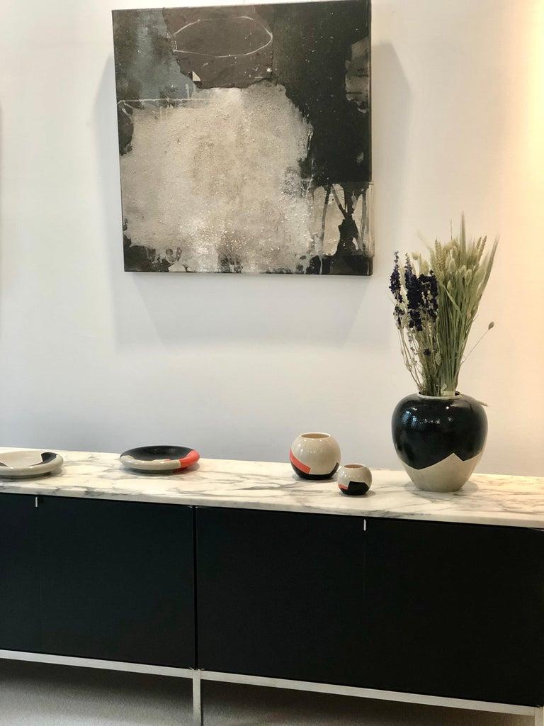 Large Vase French Ceramist J. Suzor geometric pattern, Craqueling GlazeLongwy  For Sale 3