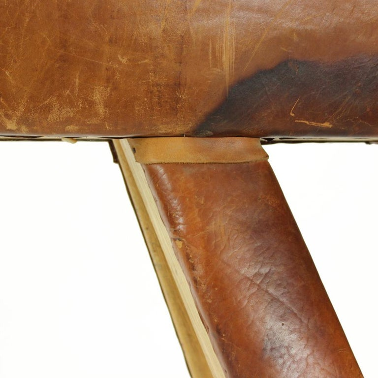 Large Vaulting Gymnastics Leather Horse, Czechoslovakia, circa 1950 For Sale 5