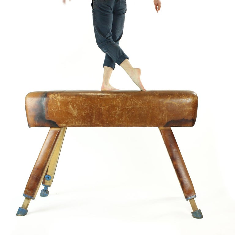 Beautiful and impressive, this large vaulting gymnastics horse in truly one of a kind. Very strong construction, made in strong leather. It comes from a gymnastics school in Czechoslovakia where it was regularly used. Leather´s patina is rich and