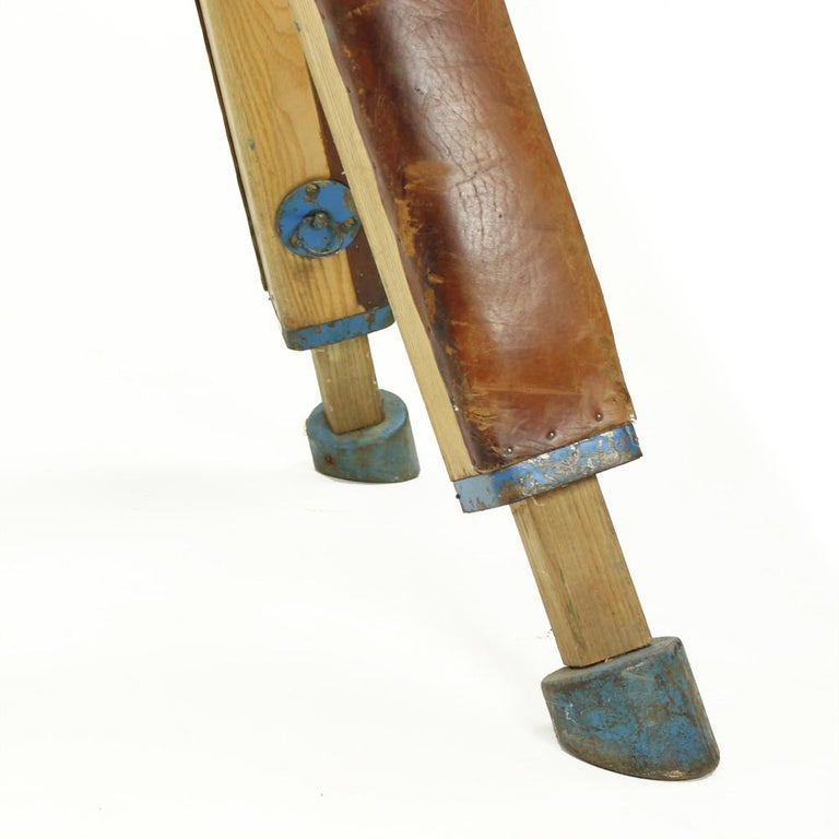 Large Vaulting Gymnastics Leather Horse, Czechoslovakia, circa 1950 In Good Condition For Sale In Zohor, SK