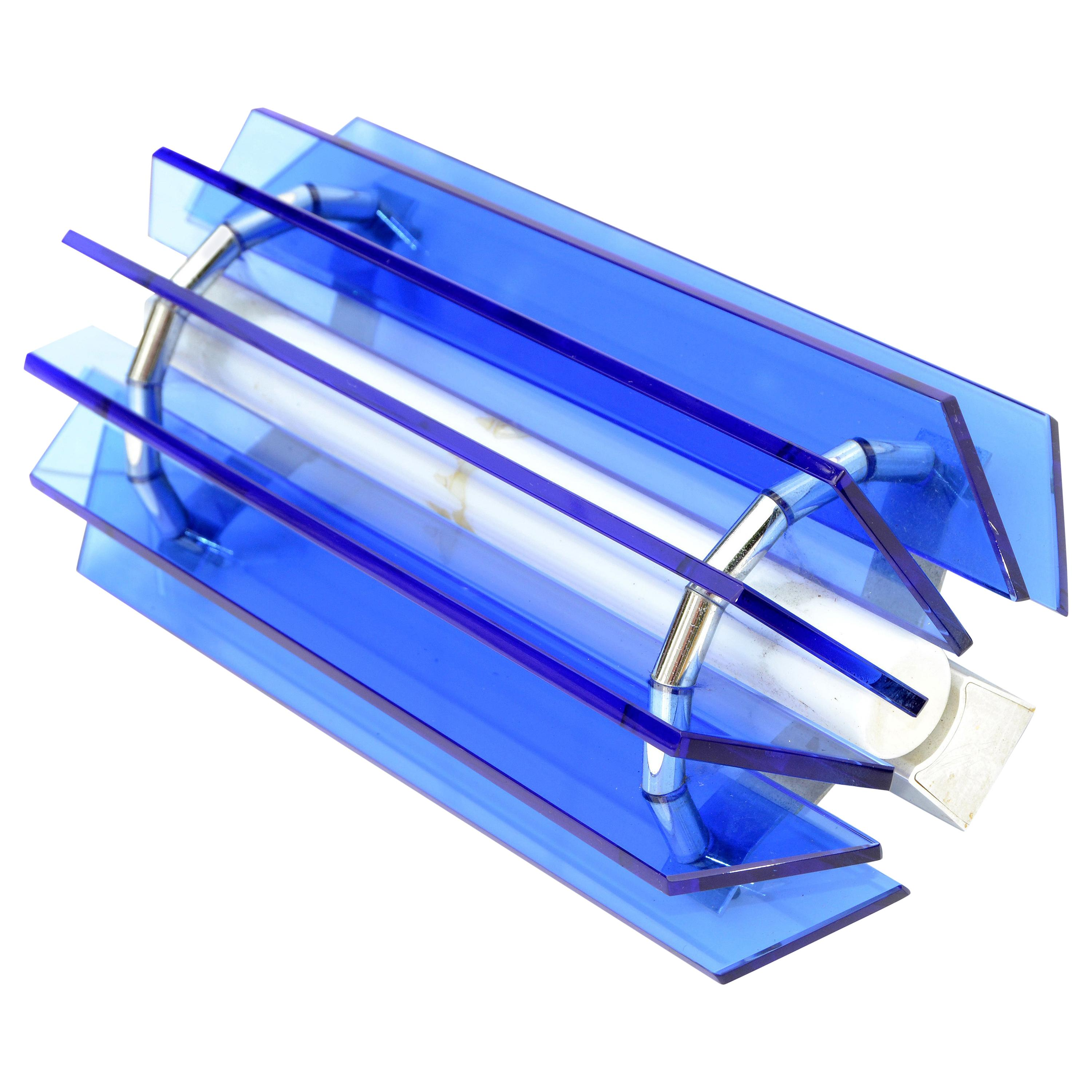 Large VECA Blue Mid-Century Modern Glass Chrome Wall Sconce, Italy, 1960s