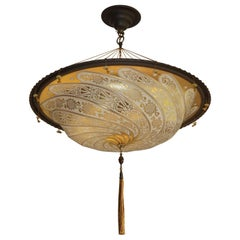Large Venetian Art Glass Flush Mount / Pendant Design by Mariano Fortuny, Italy