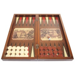 Large Venetian Backgammon Board Box with Game Pieces, Italy