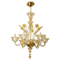 Large Venetian Chandelier in Gilded Murano Glass, by Barovier, 1950s
