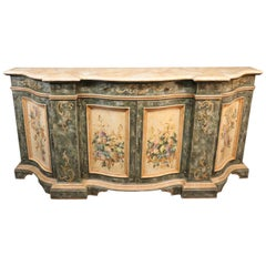 Large Venetian Faux Marble Paint Decorated Antique Distressed Sideboard Buffet