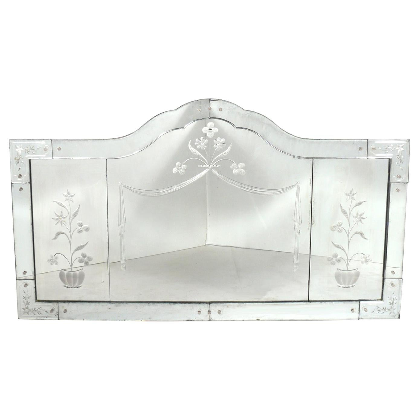 Large Venetian Mirror with Etched Floral Decoration