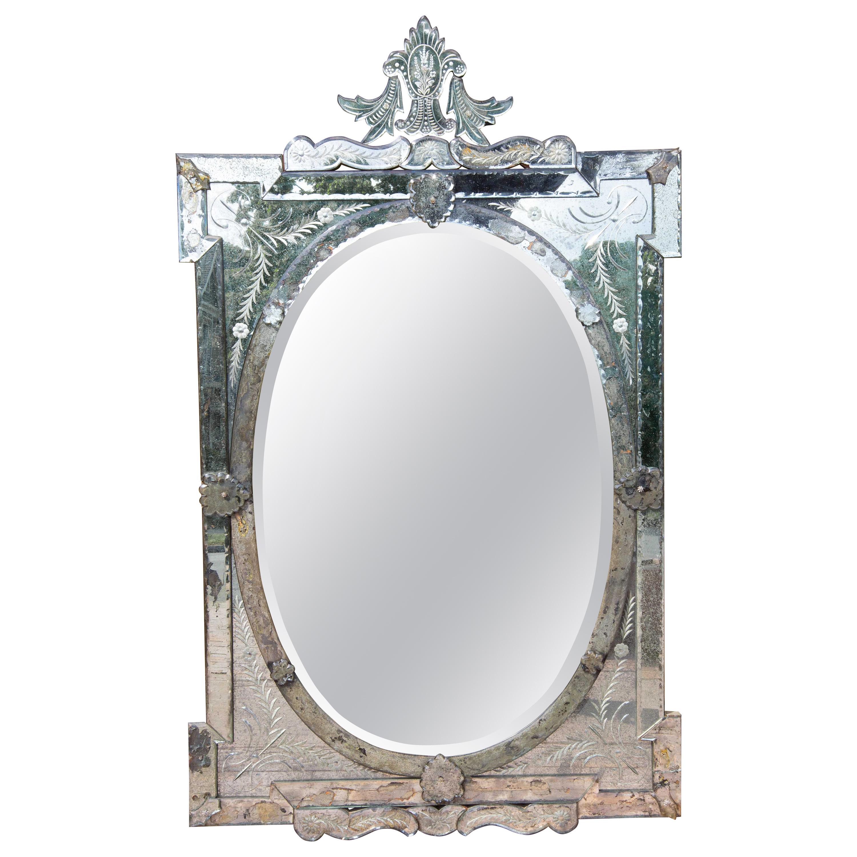 Large Venetian Murano Glass Wall Mirror