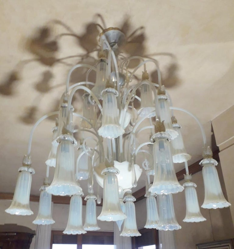 Italian Large Venetian Opaline Chandelier For Sale