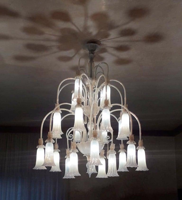 20th Century Large Venetian Opaline Chandelier For Sale