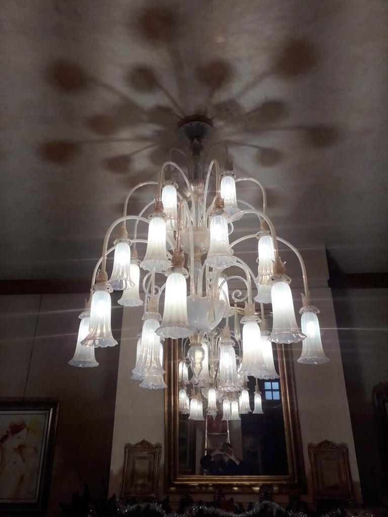 Murano Glass Large Venetian Opaline Chandelier For Sale