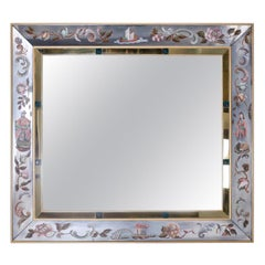 Large Venetian Wall Mirror with Reverse Painted Chinoiserie Designs