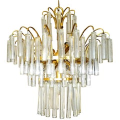 Large Venini Camer Mid-Century Gilt Brass 94 Crystal Rods Waterfall Chandelier