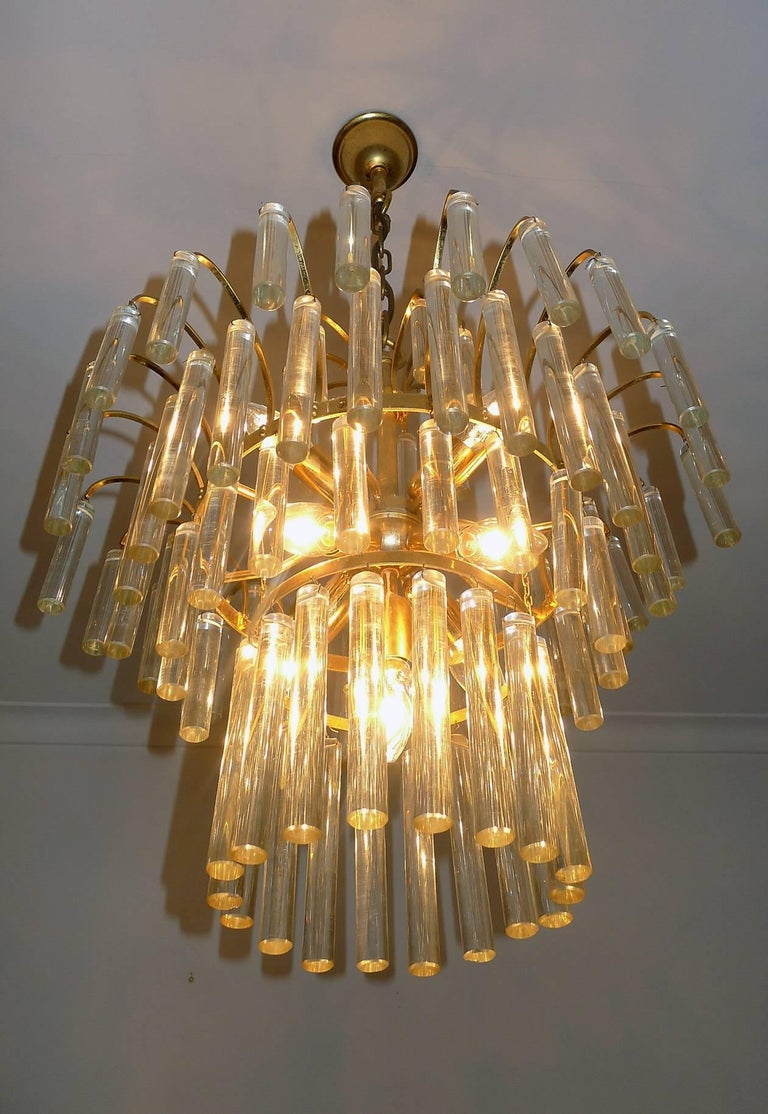 Large Venini Camer Midcentury Gilt Brass 94 Crystal Rods Waterfall Chandelier For Sale 5